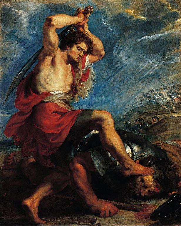 David contre Goliath. Tableau de Rubens, vers 1616. Norton Simon Museum, Californie-histoire-6e