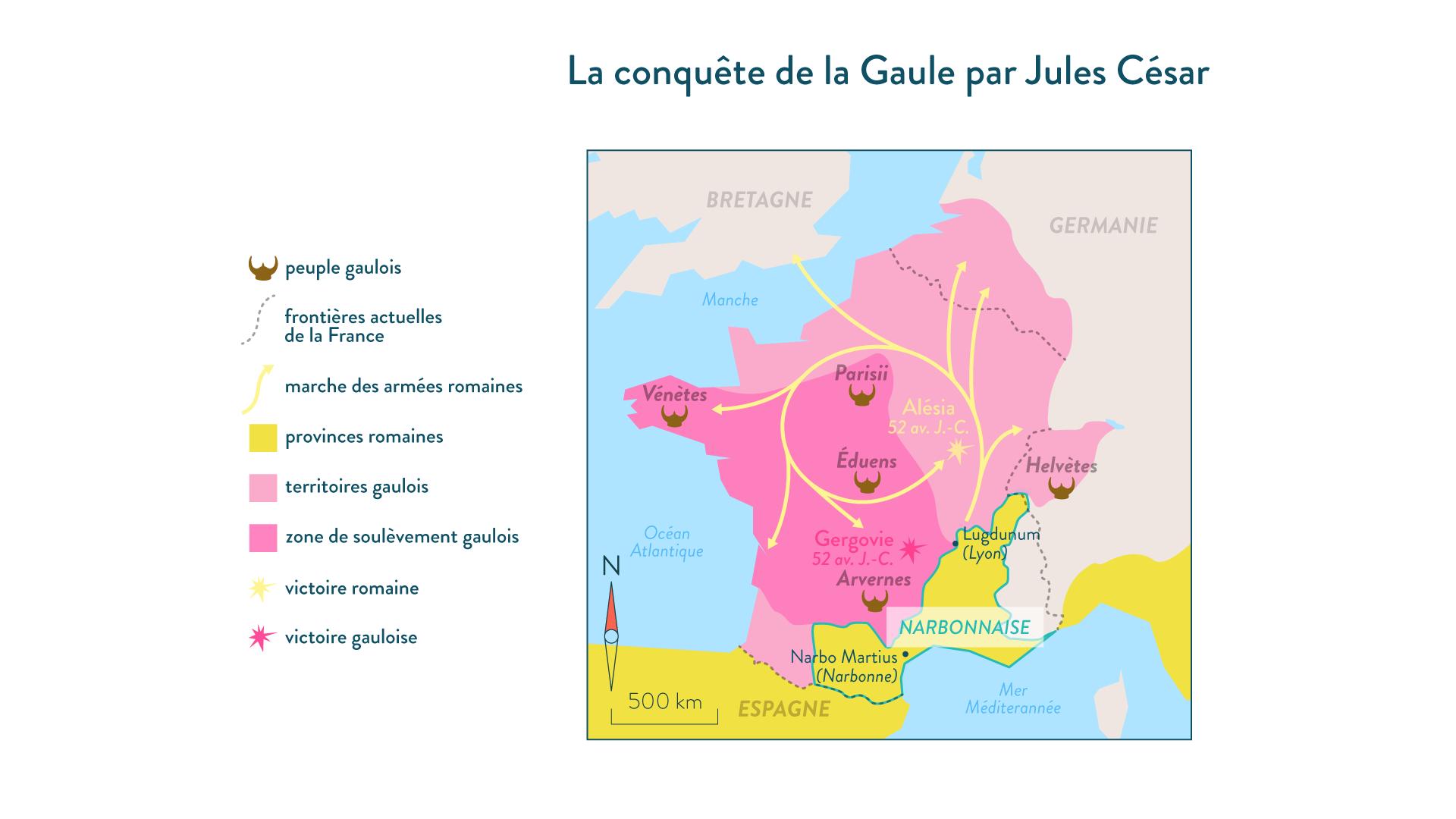 La conquête de la Gaulle par Jules César-Histoire-6e