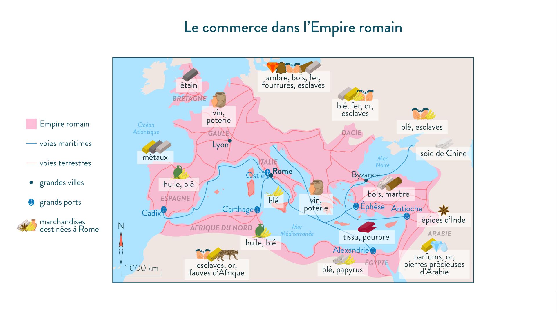 Le commerce dans l'Empire romain-histoire-6e