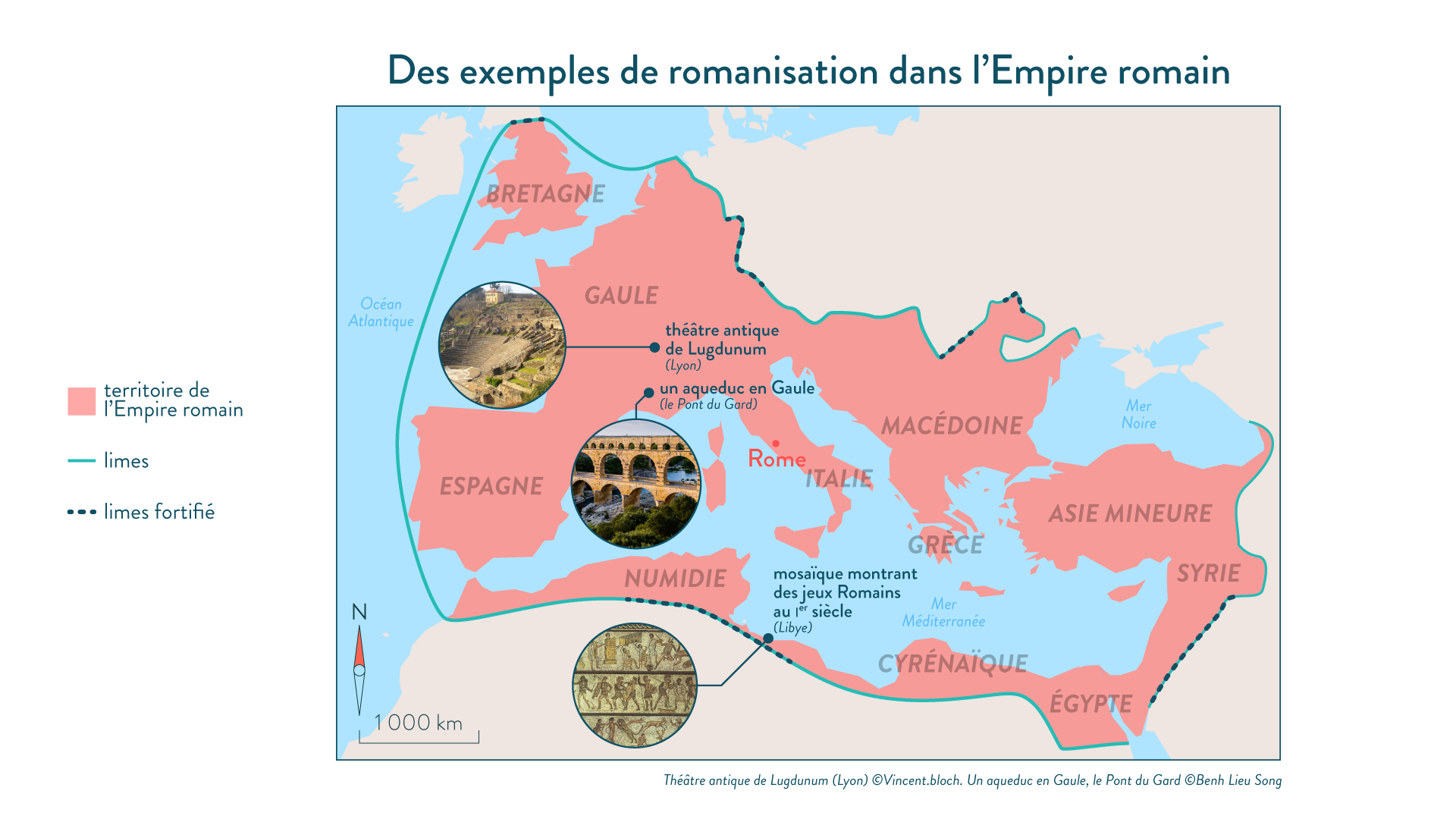 Des exemples de la romanisation dans l'Empire romain-histoire-6e
