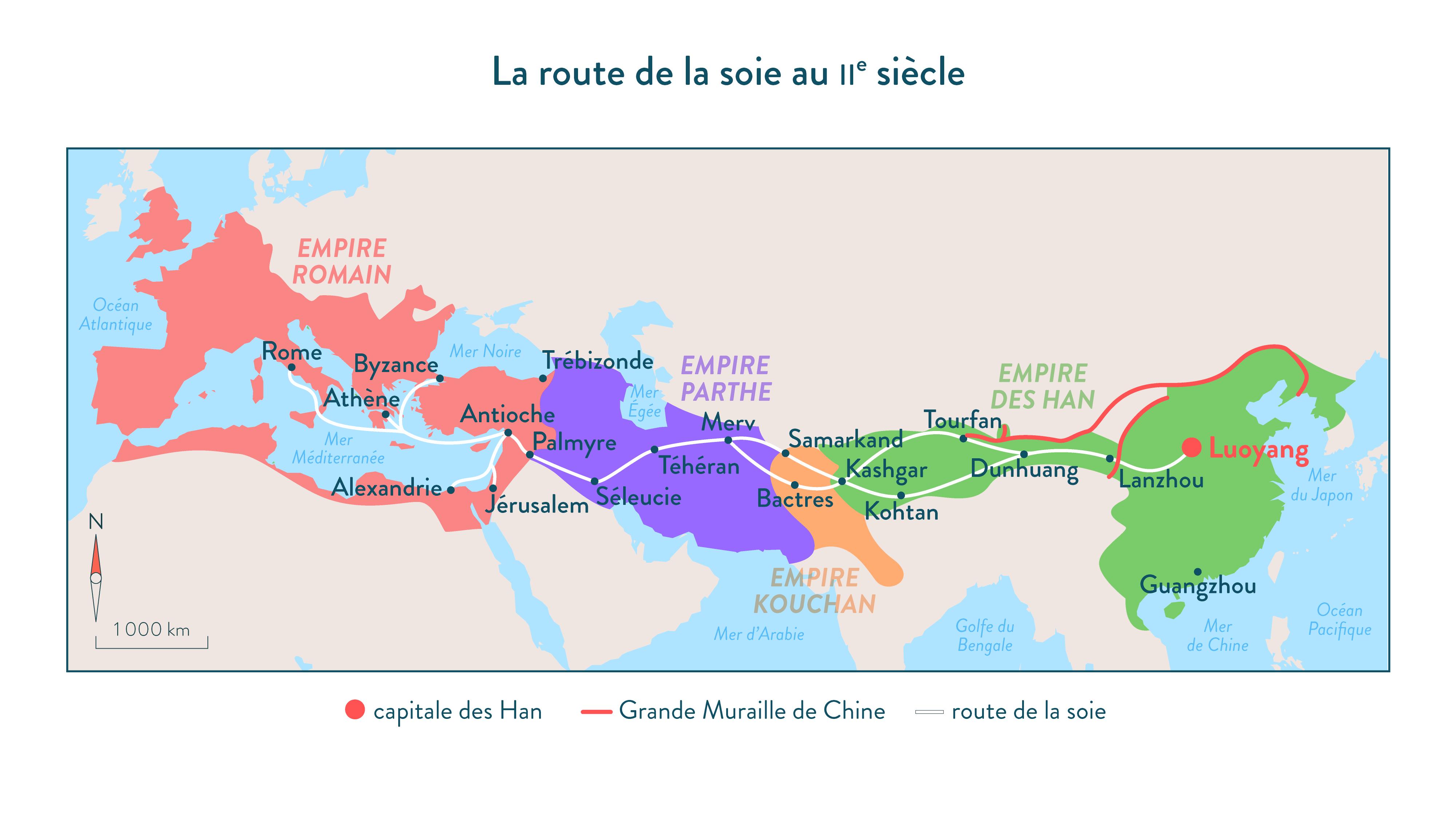 La route de la soie au II<sup>e</sup> siècle ap. J.-C-Histoire-6e