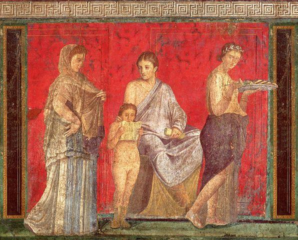 Dames romaines vêtues d'une robe de soie. Détail d'une fresque d'une villa de Pompéi, I<sup>e</sup>siècle av. J.-C. ©The Yorck Project-histoire-6e