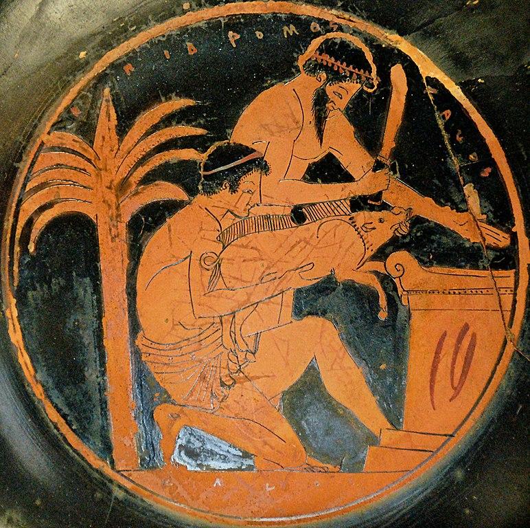 Une scène de sacrifice, détail d'une coupe grecque-histoire-6e