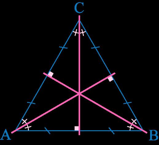 tirangle équilatéral axe de symétrie médiatrice hauteur