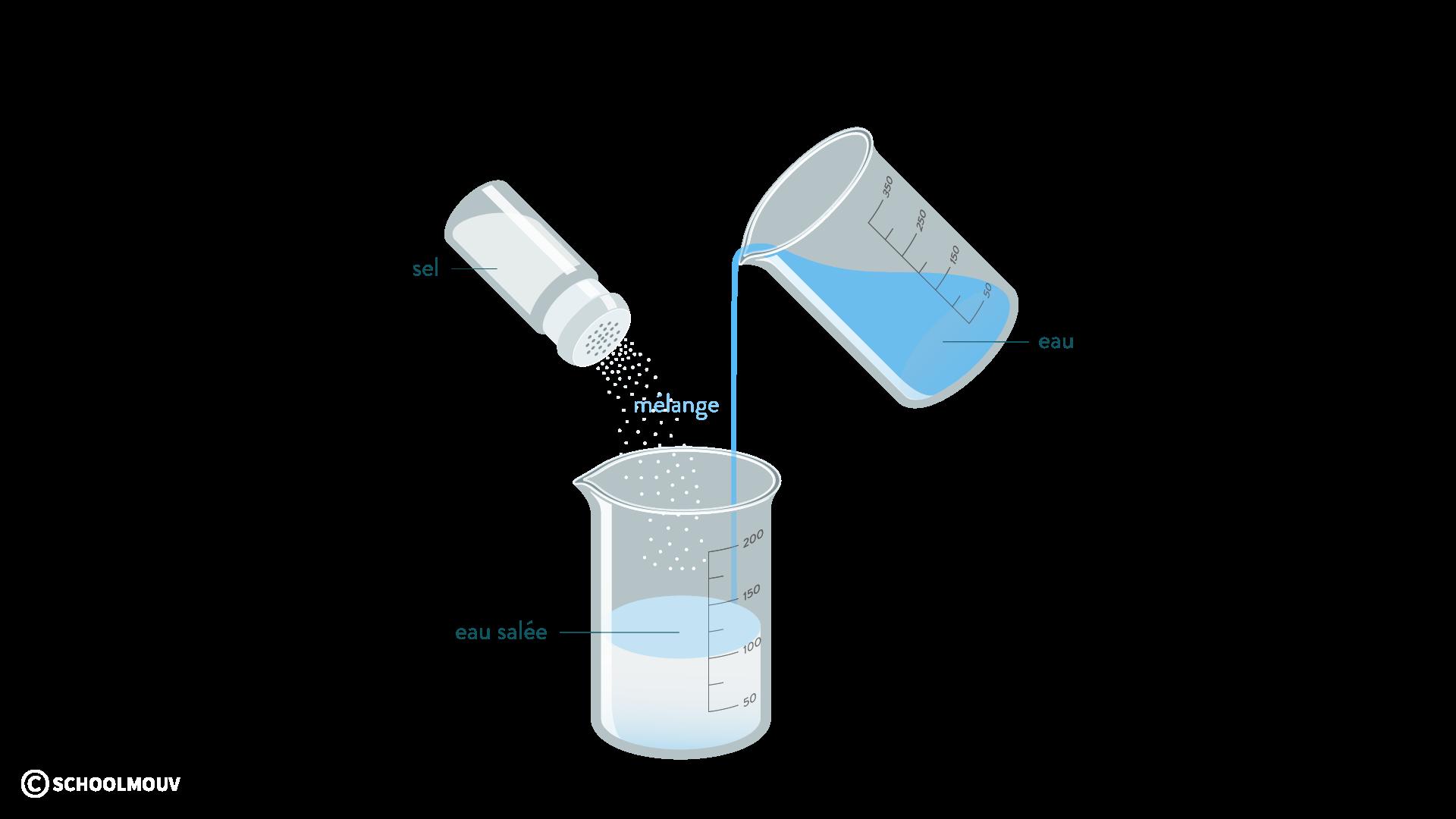 L'eau salée mélange homogène physique-chimie 6eme schoolmouv