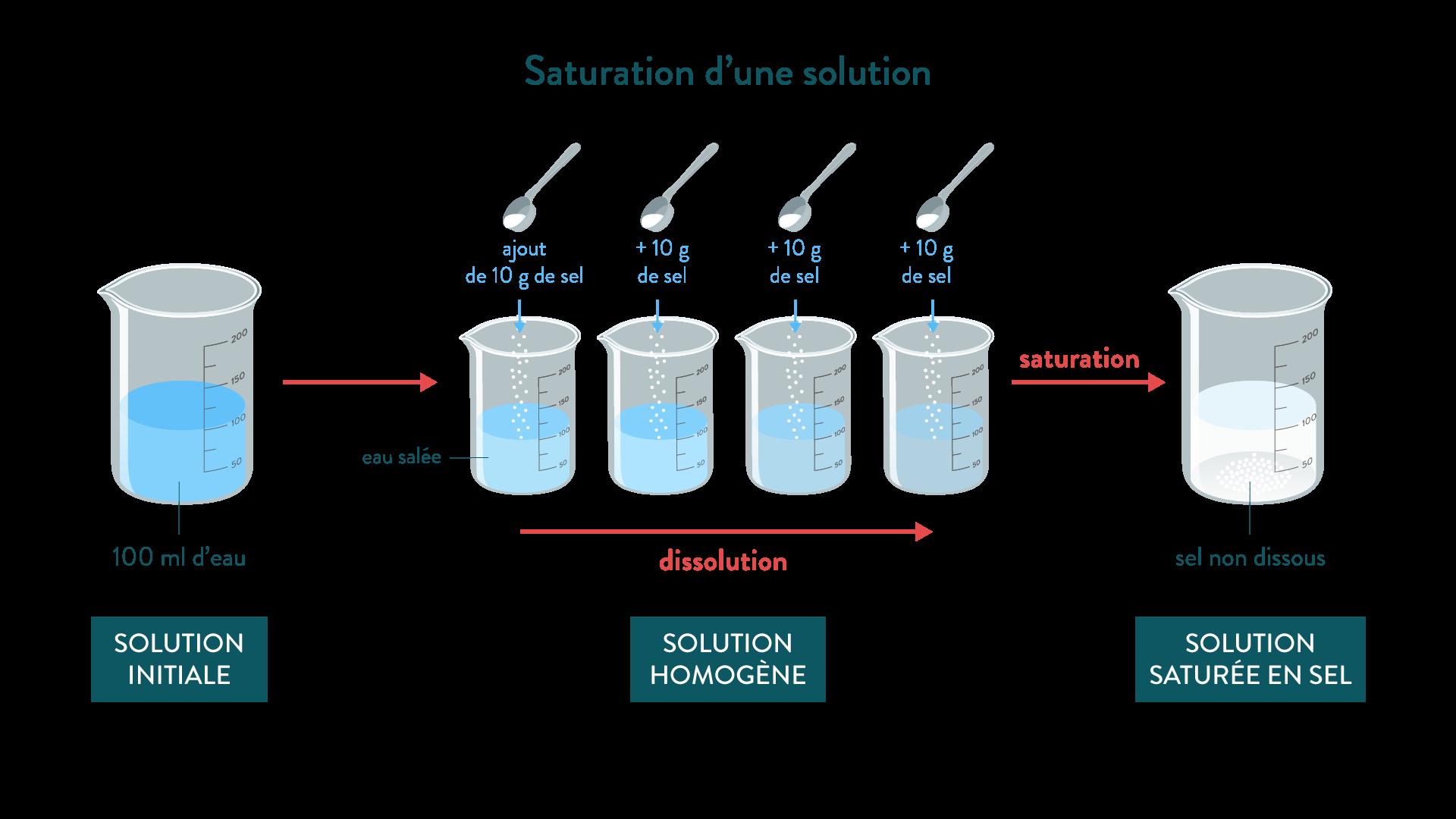 Saturation d'une solution eau sel physique-chimie 6eme schoolmouv
