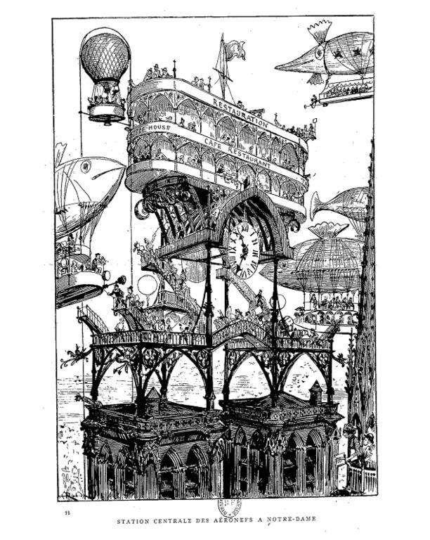 «Station centrale des aéronefs à Notre-Dame», <em>LeVingtième siècle</em>, Albert Robida