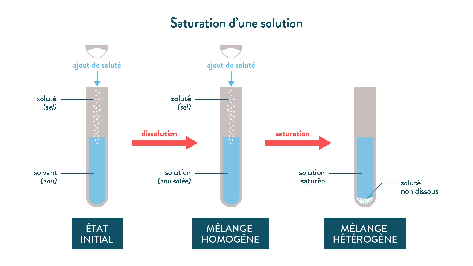 Solution aqueuse homogène de sel / Solution saturée de sel