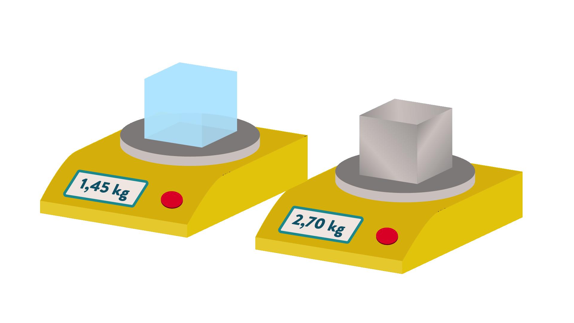 Deux cubes de même volume mais de masses différentes