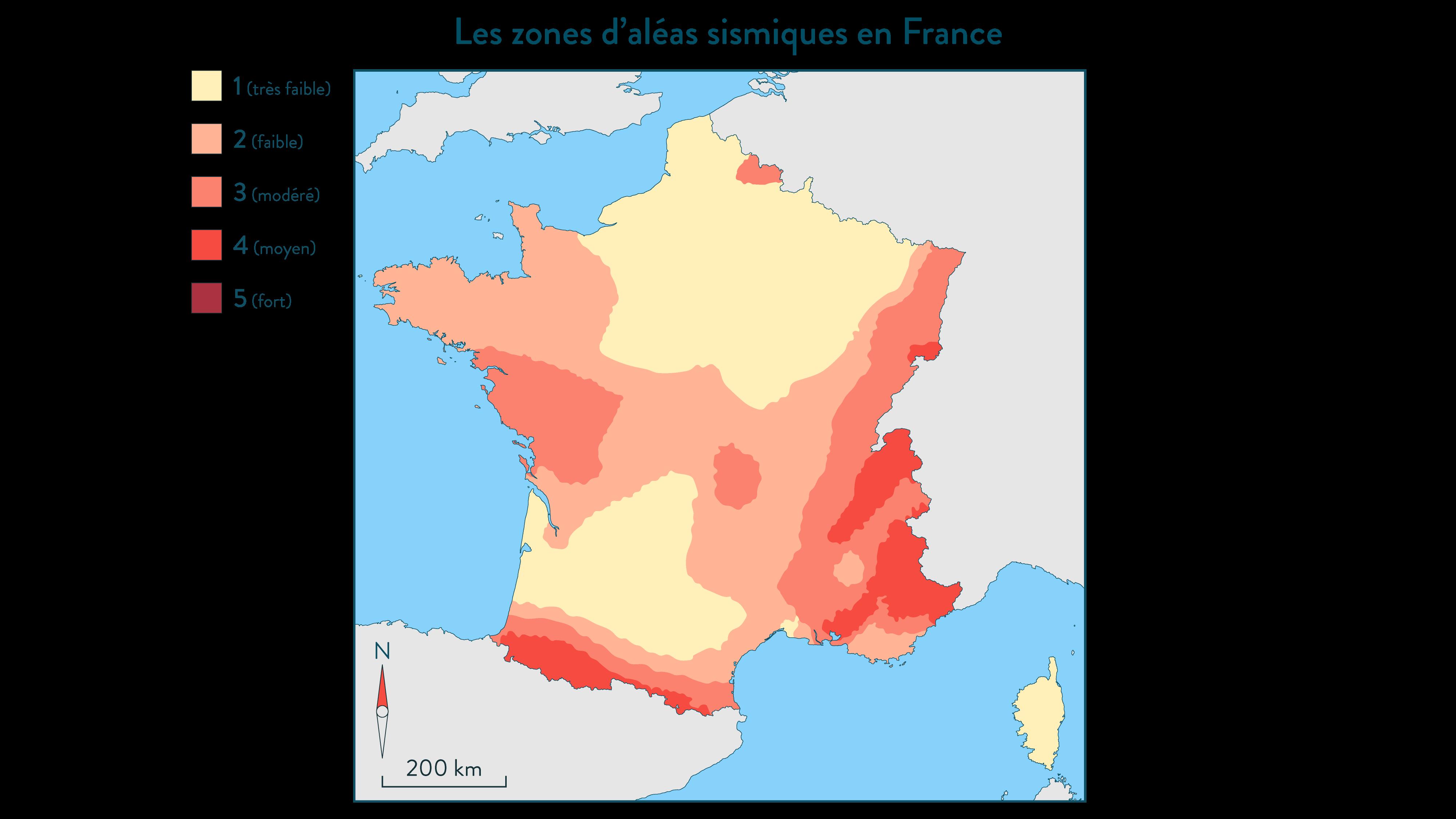 Carte de l'aléa sismique pour la France