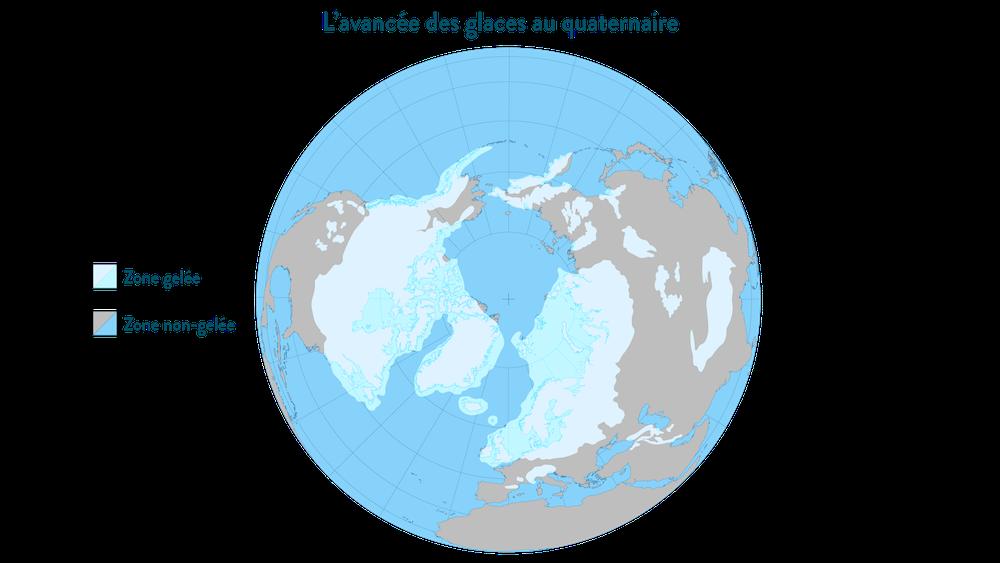 La limite de l'avancée des glaces au maximum de la période glaciaire du quaternaire