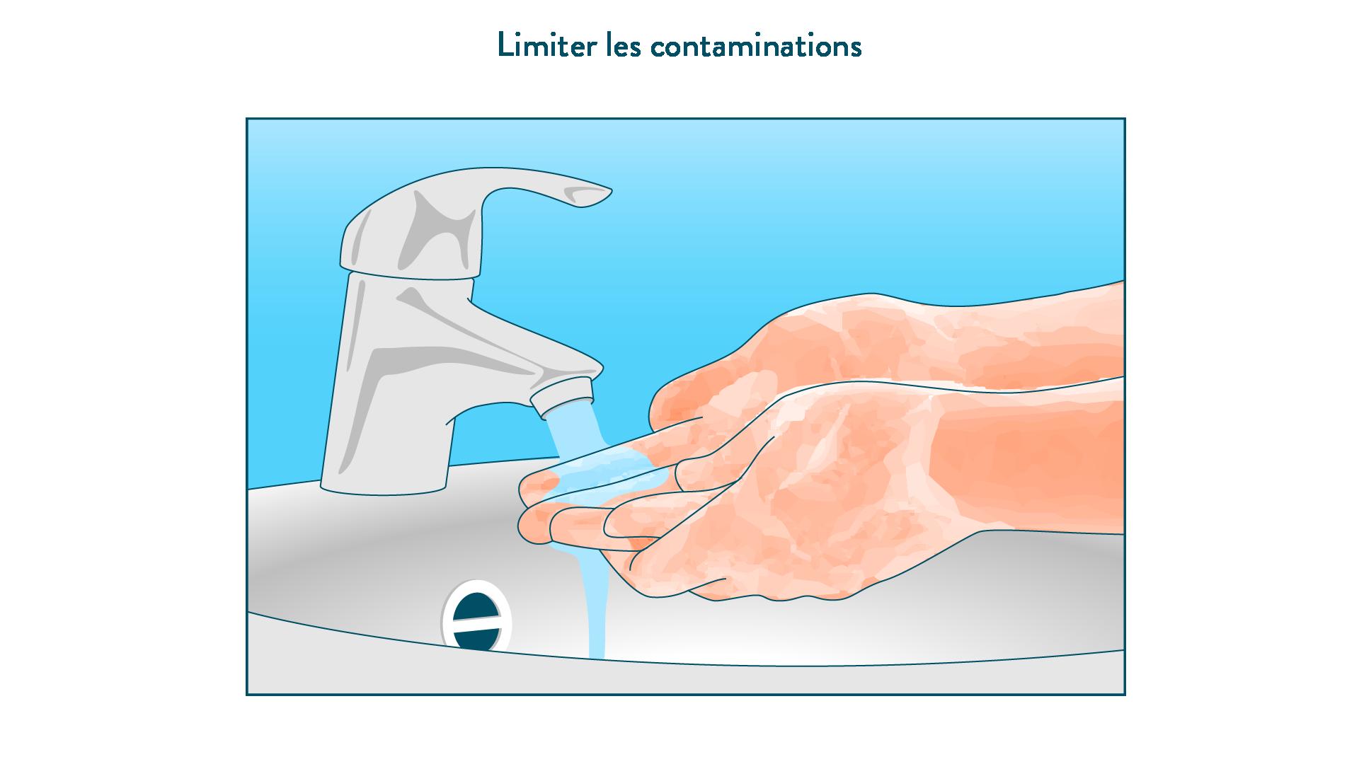 Se laver les mains pour éviter les contaminations