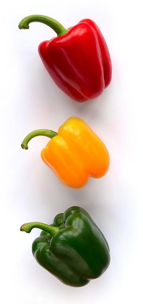 poivrons rouge, jaune et vert