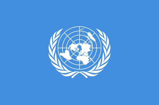 Drapeau de l'Organisation des Nations Unies, un organisme chargé du maintien de la paix au niveau mondial