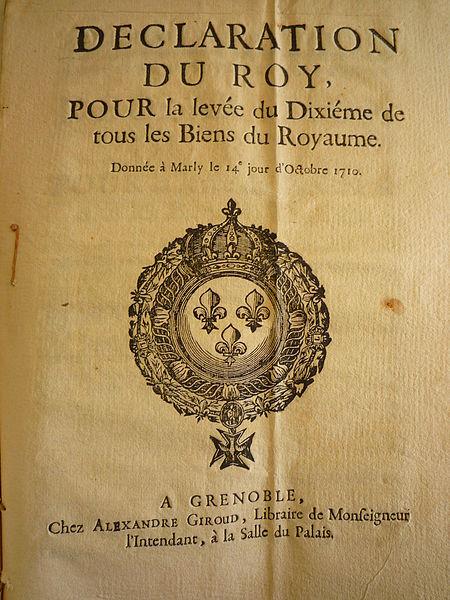 Avis de levée d'impôt XVIIe dauphiné déclaration du roi