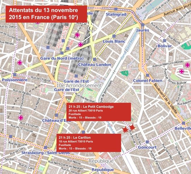 la carte des attentats du 13 novembre 2015