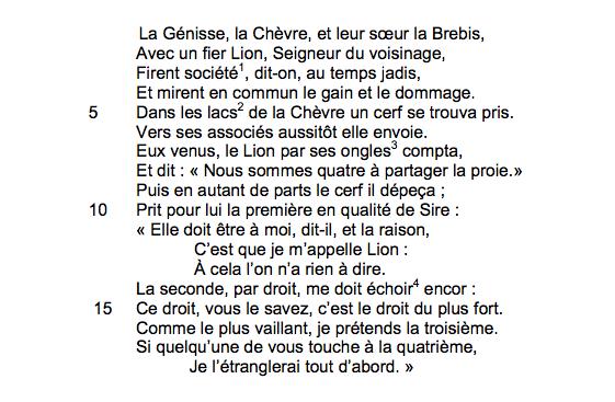 Jean de la Fontaine, «La Génisse, la Chèvre et la Brebis, en société avec le Lion», Fables, livres I, 6