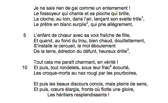 Paul Verlaine, «L'enterrement», <em>Poèmes saturniens</em>, 1866