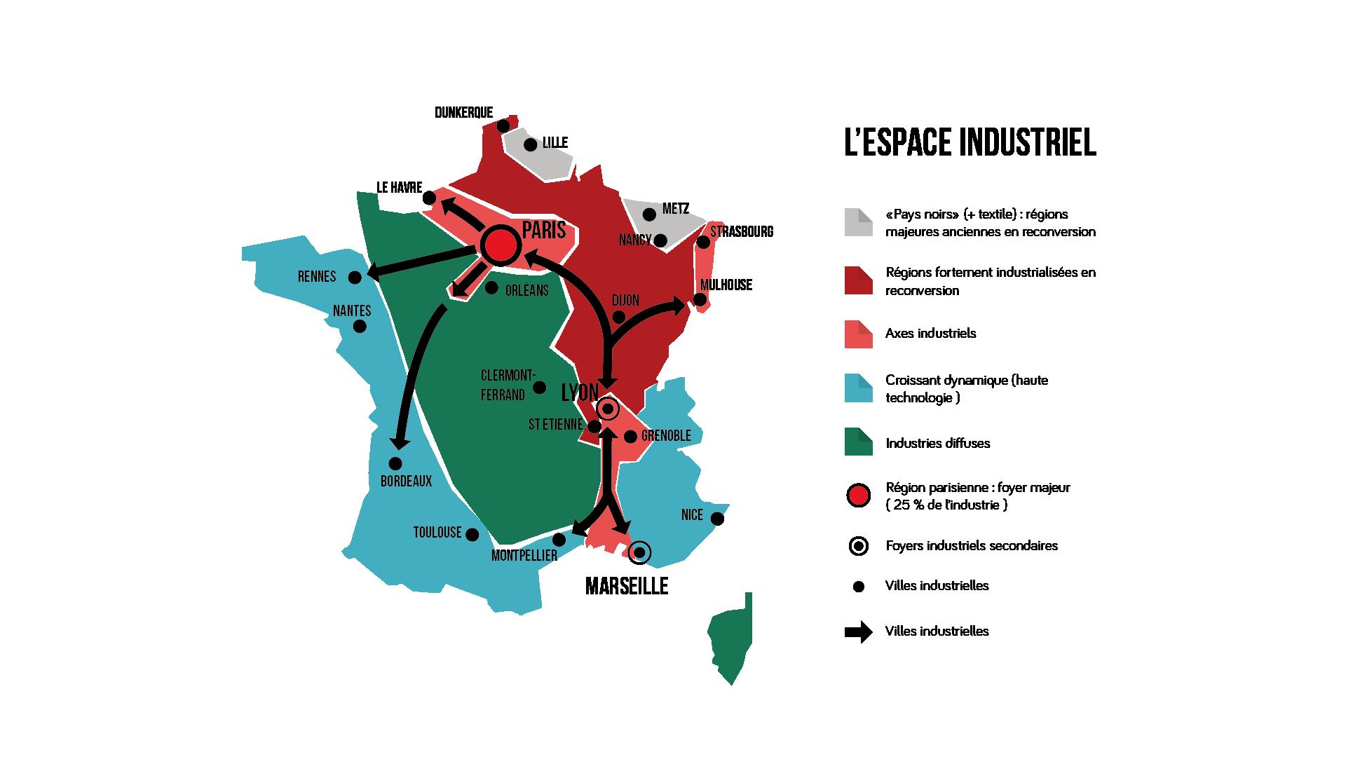 Carte des zones industrialisées en France