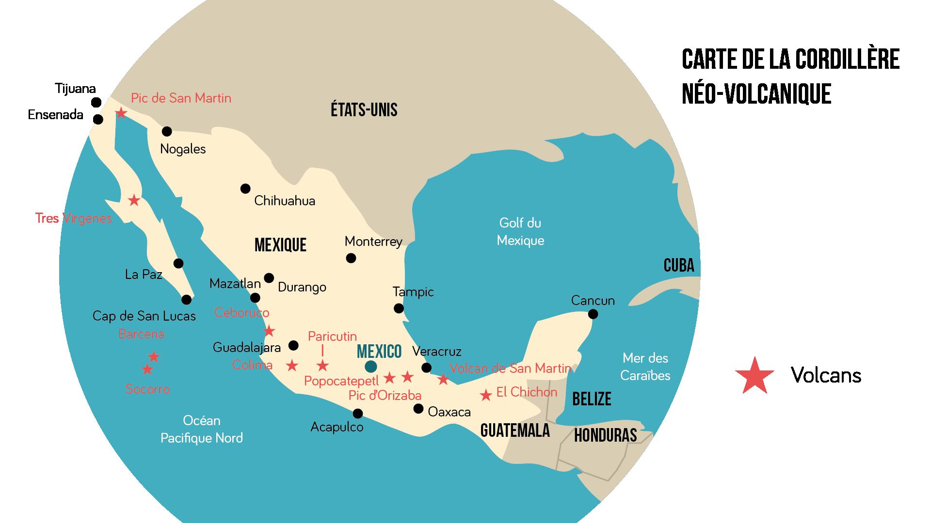 Carte de la cordillère néovolcanique Géographie seconde