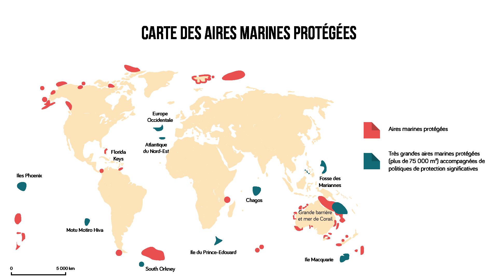 Carte des aires marines protégées Géographie seconde