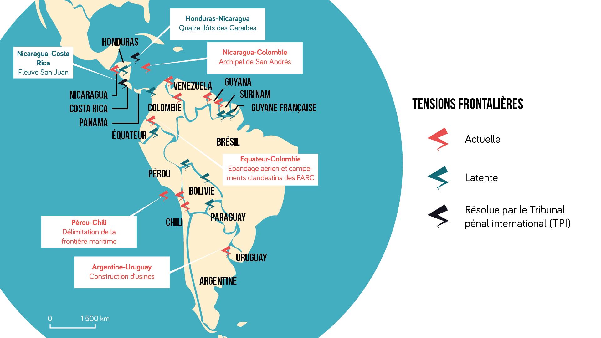 Géographie terminale Carte des tensions frontalières sur le continent américain