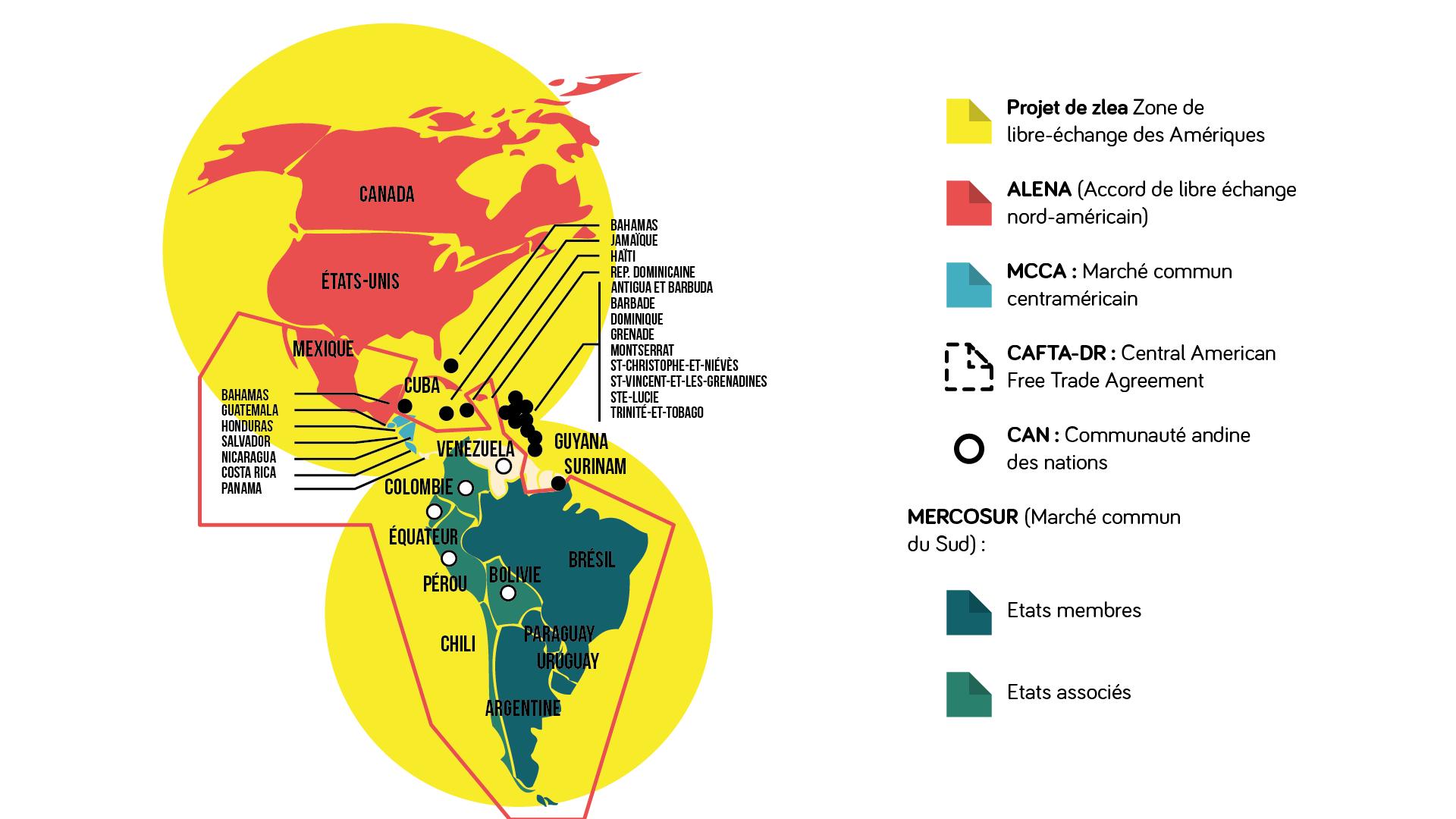 Géographie terminale Carte des accords de coopération sur le continent américain