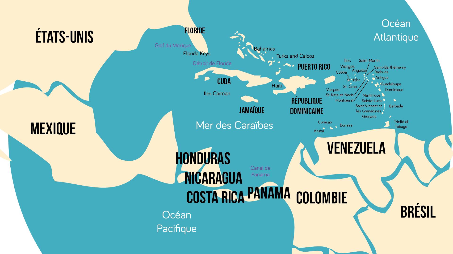 Géographie terminale Carte de l'espace Caraïbes
