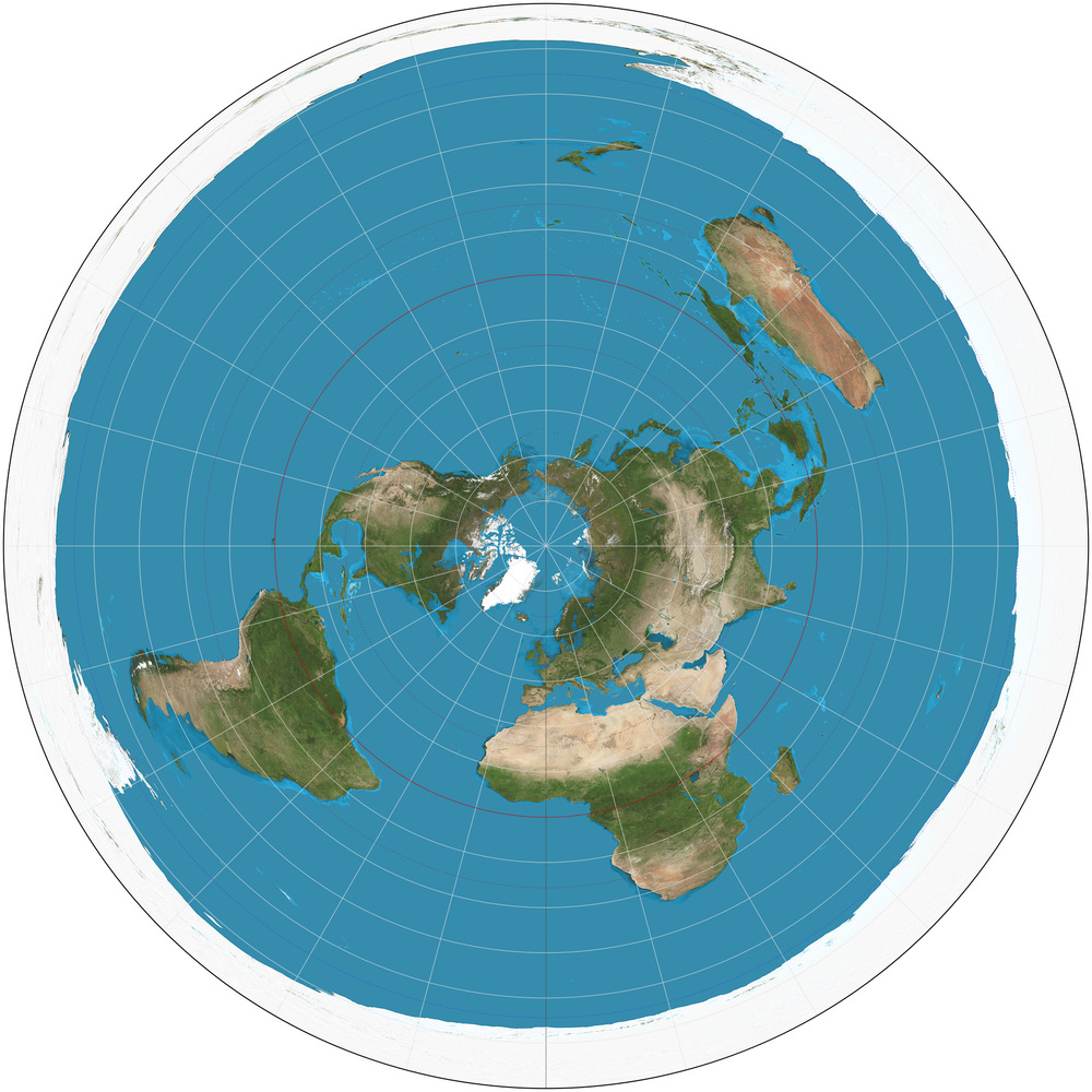 Planisphère en projection azimutale équidistante