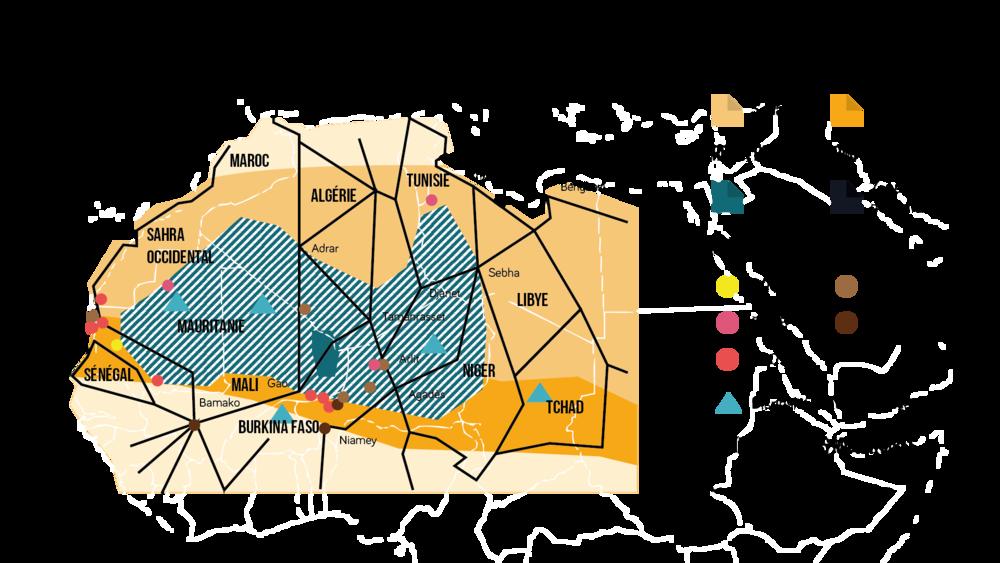 Carte du Sahara: zone d'insécurité et carrefour migratoire en 2011