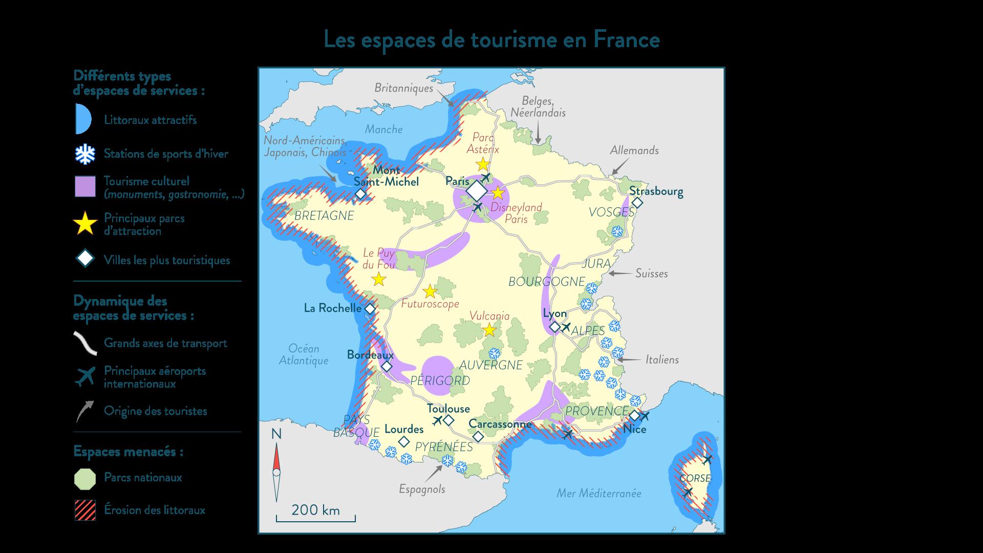 Les espaces de tourisme en France