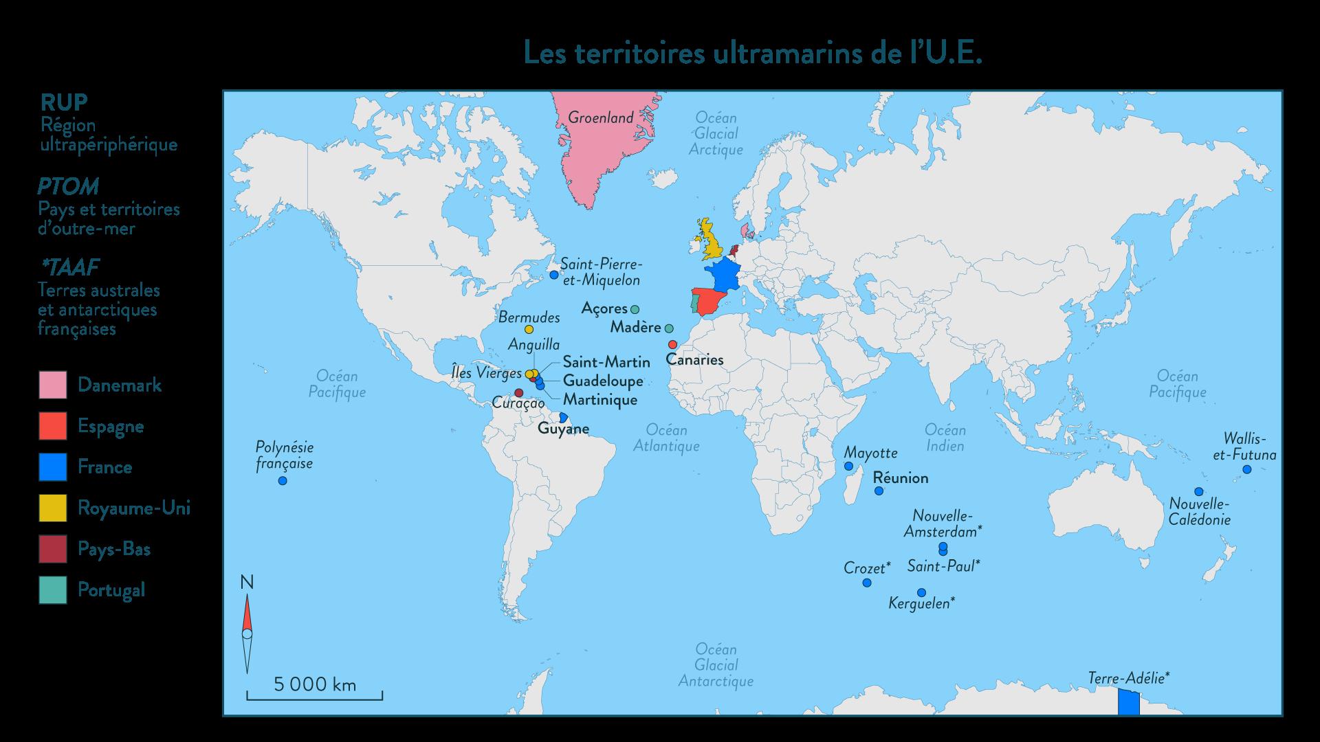 Les territoires ultramarins de l'U.E.