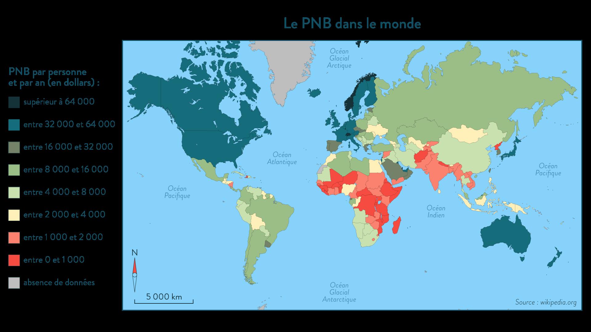 Le PNB par habitant dans le monde
