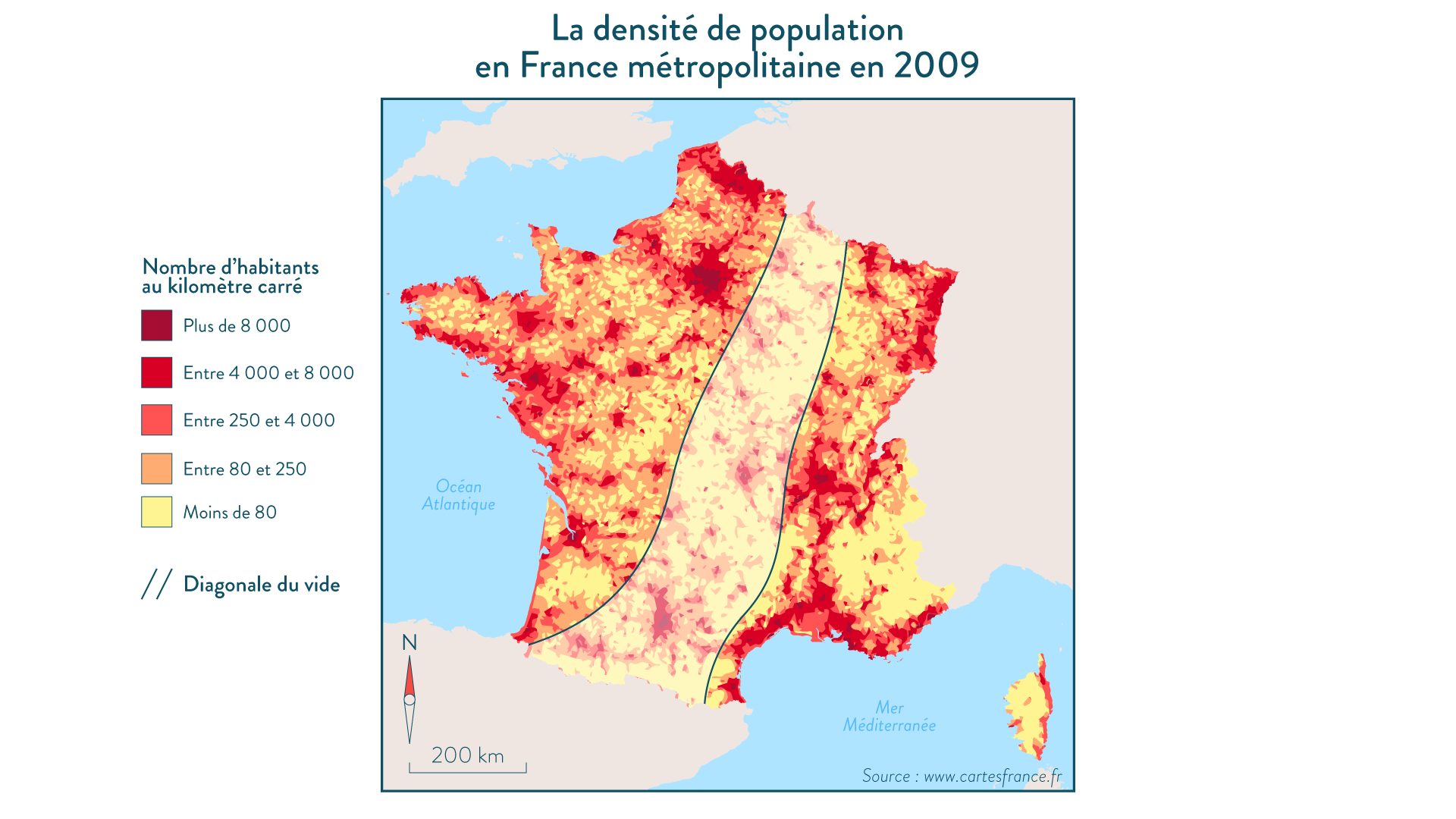 La densité de population en France métropolitaine