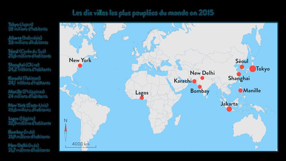 Les dix villes les plus peuplées du monde en 2015