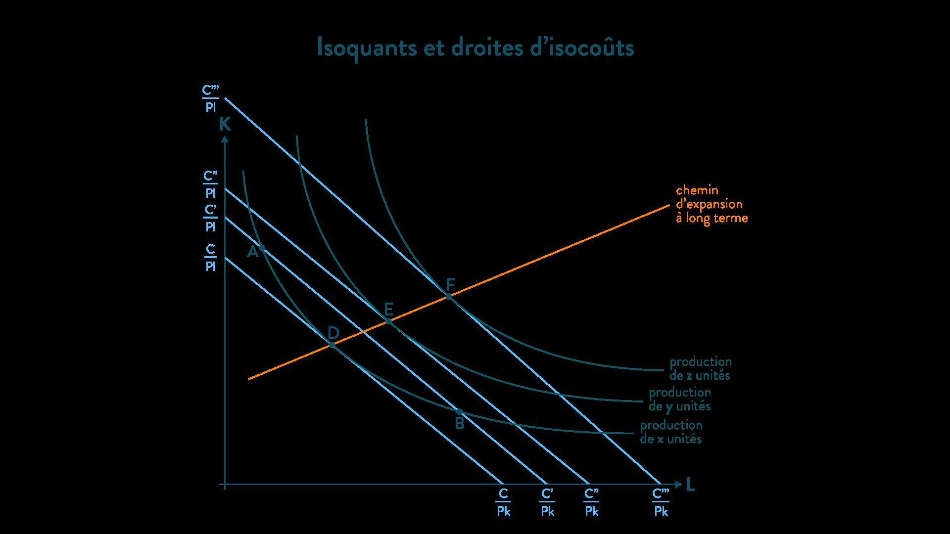 Isoquants droites d'isocoûts fonction de production méthode ses
