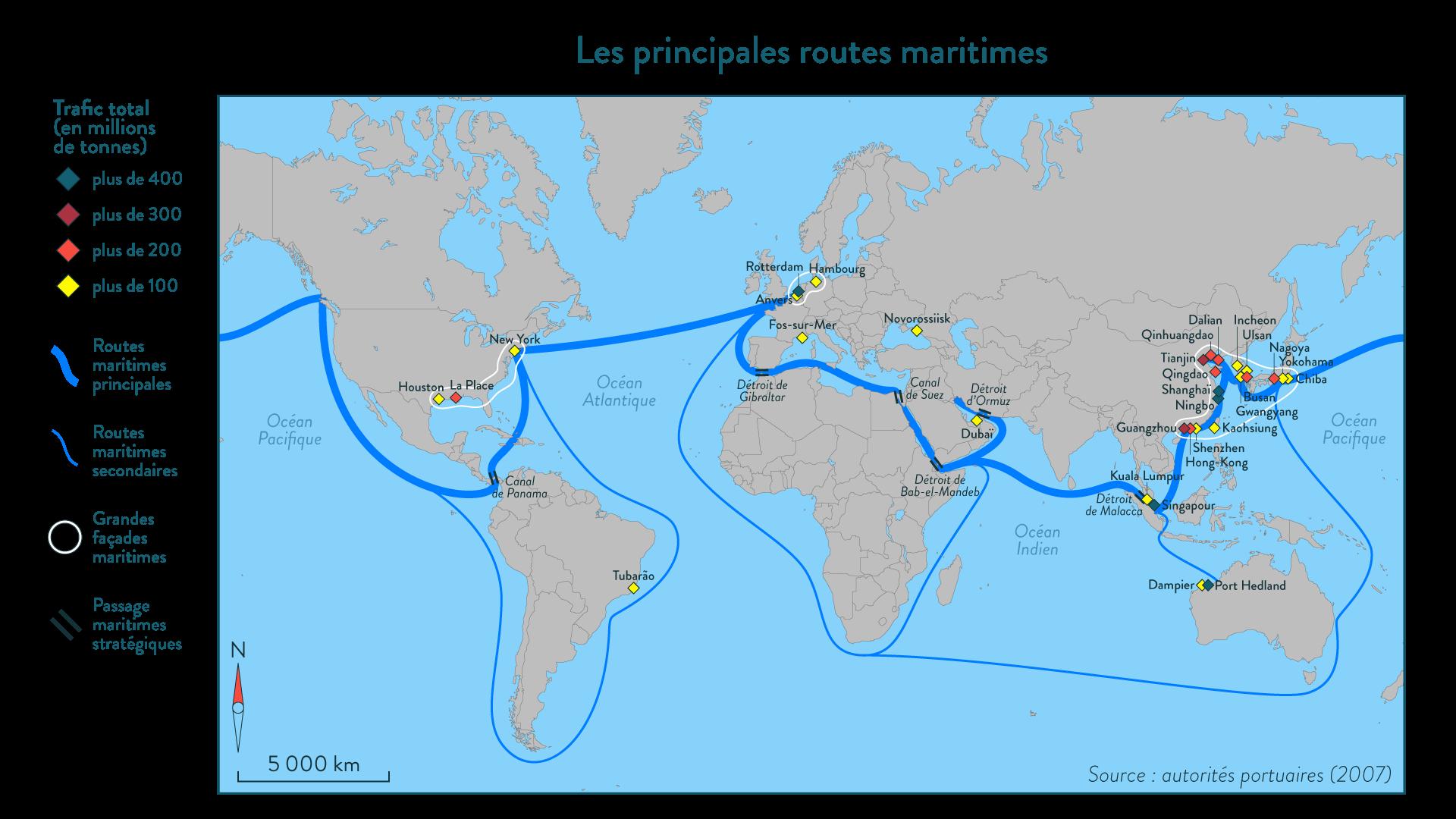 Les principales routes maritimes
