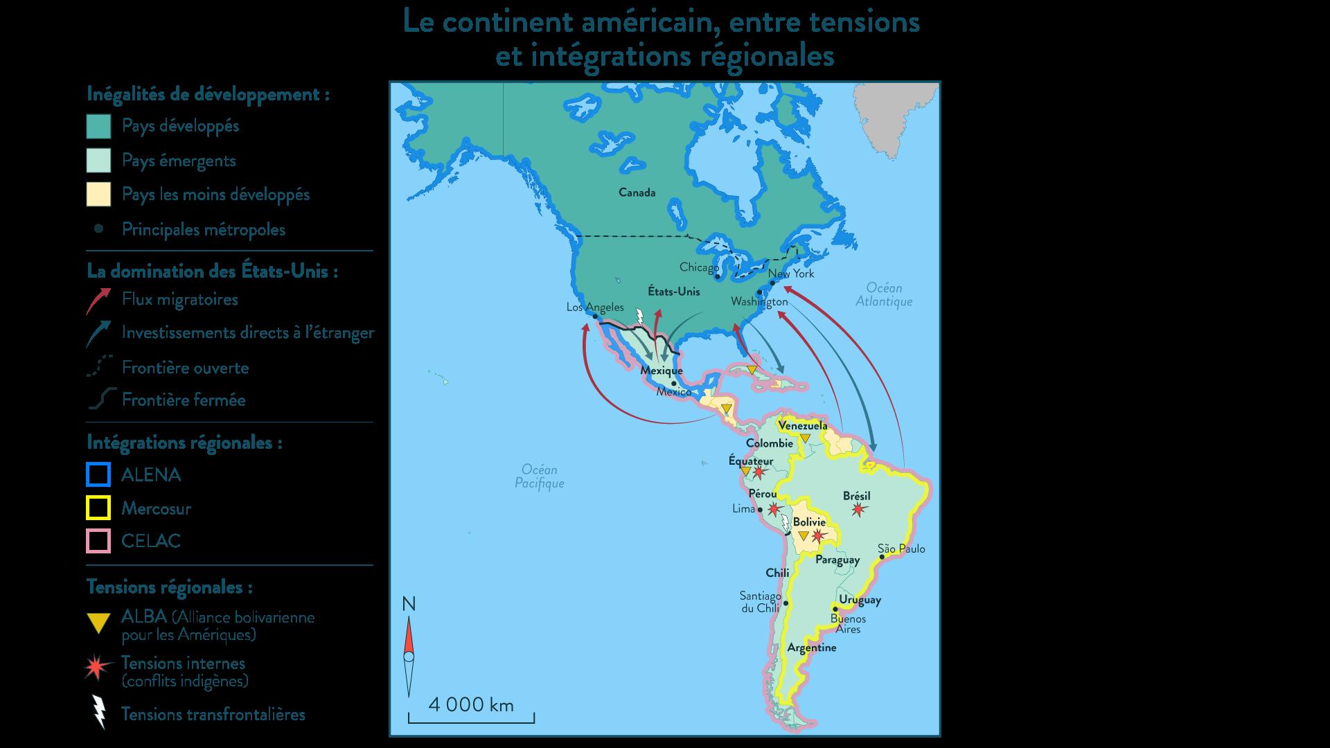 Le continent américain, entre tensions et intégrations régionales