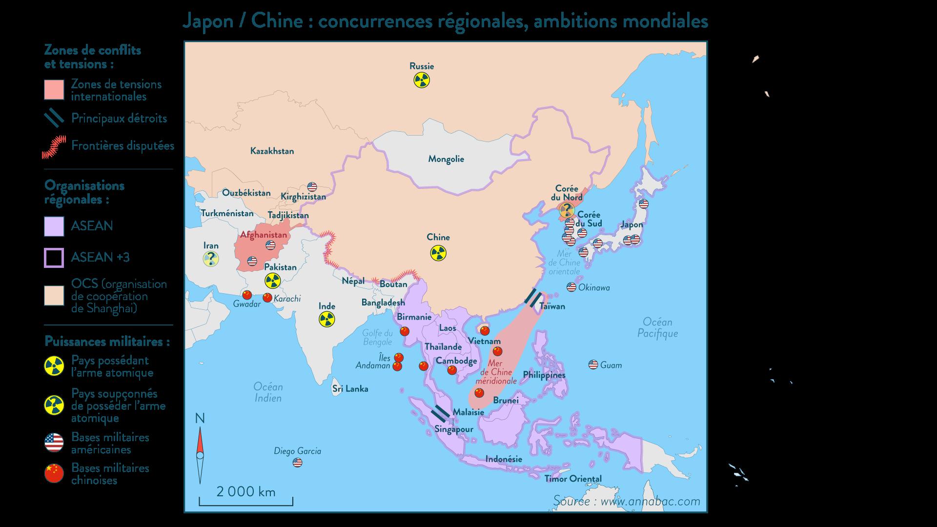 Carte Chine Japon.Carte Japon Chine Concurrences Regionales Ambitions