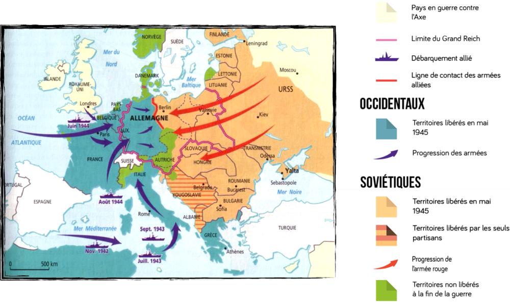 Carte de la libération des territoires en 1945
