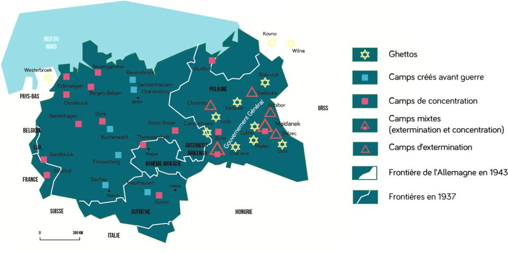 Ghettos, camps de concentration et d'extermination