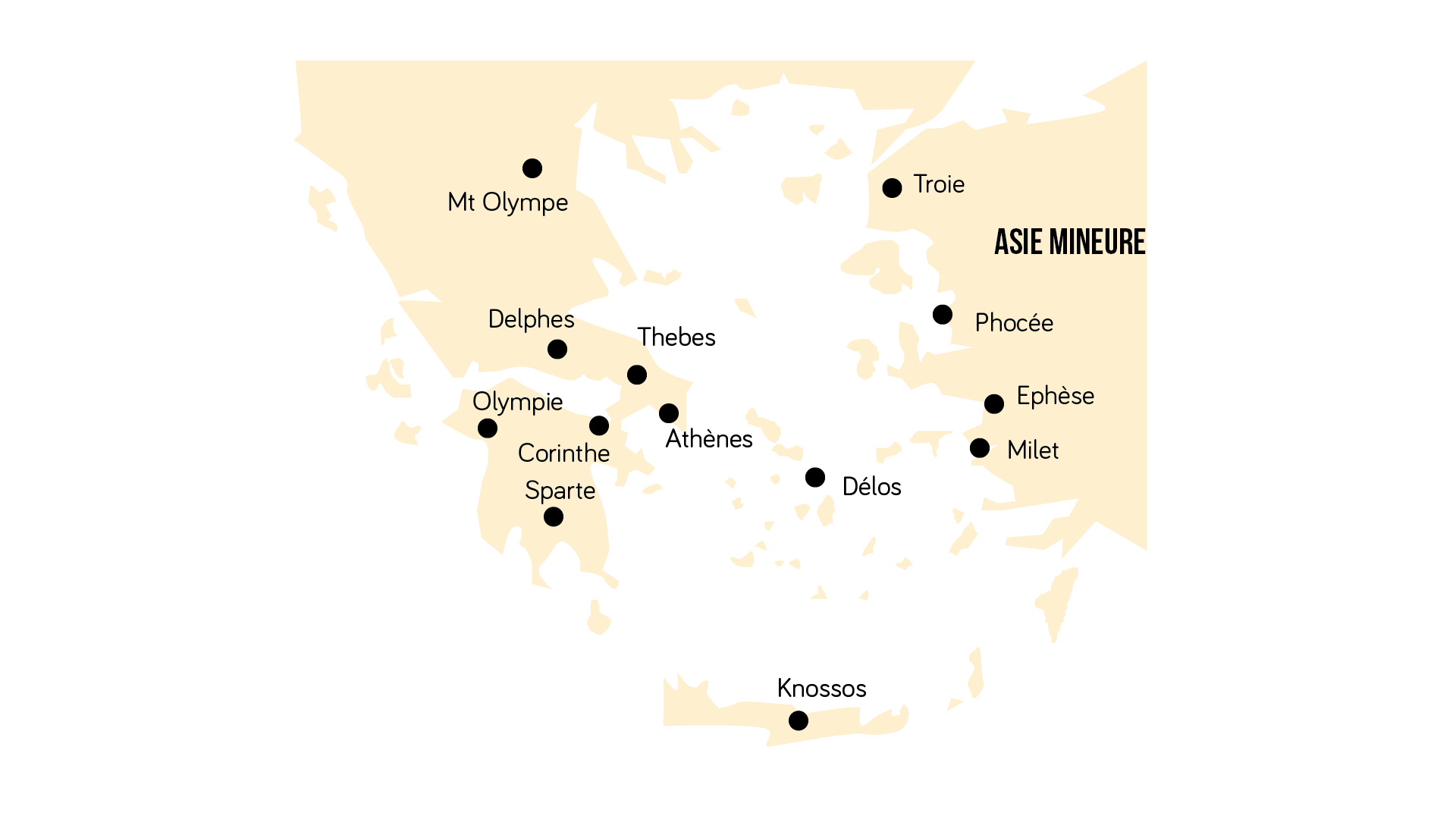Carte des principales cités grecques
