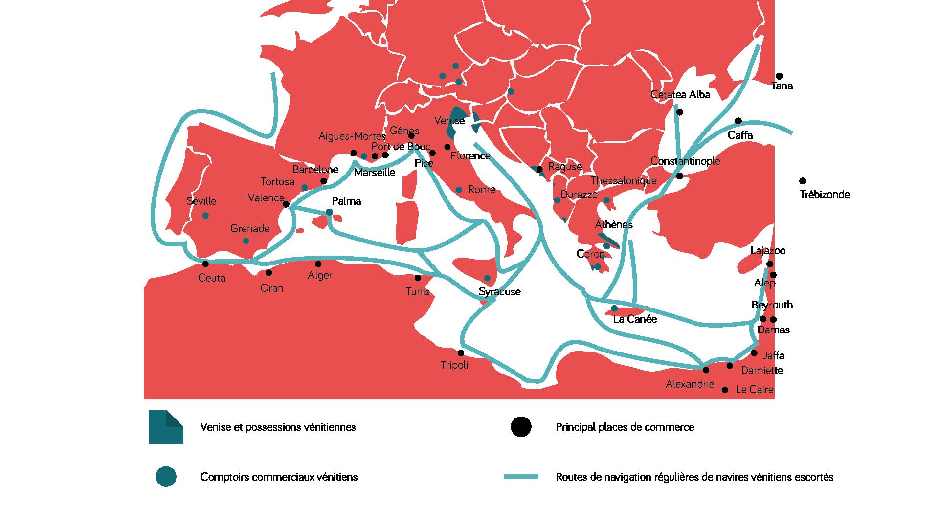 Carte: le commerce vénitien au MoyenÂge