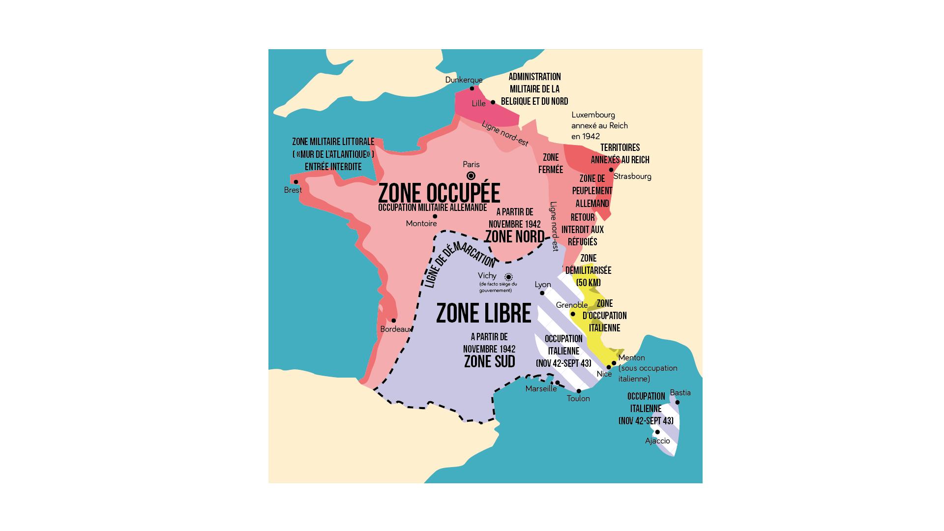 Carte de la division de la France en zones libre et occupée.
