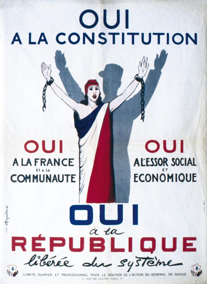 Affiche pour le oui à la Constitution prônée par de Gaulle