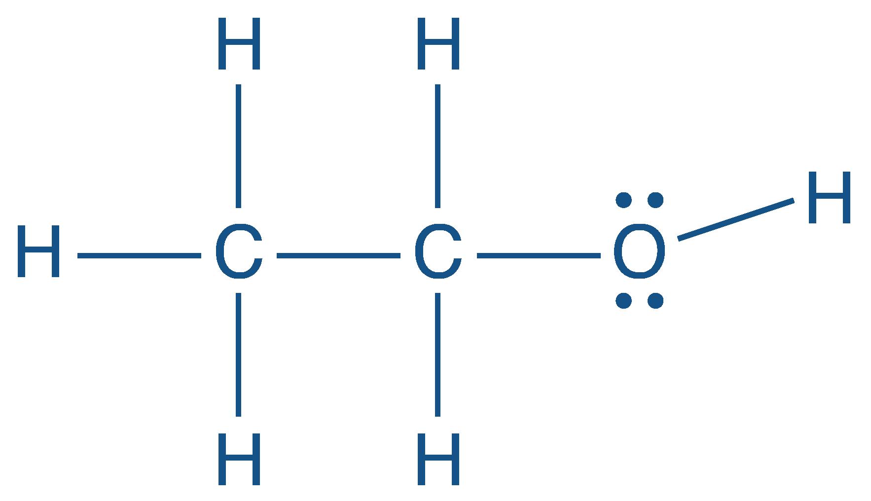 Représentation de Lewis de l'éthanol