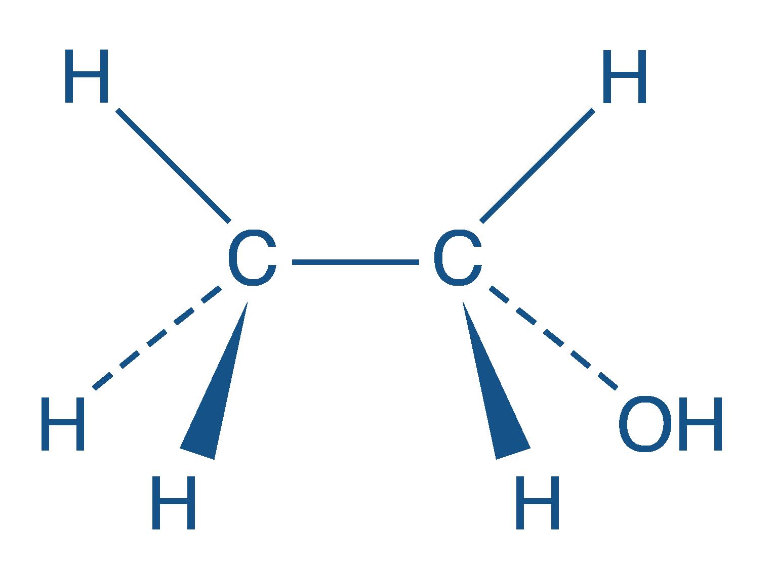 Représentation de Cram de l'éthanol