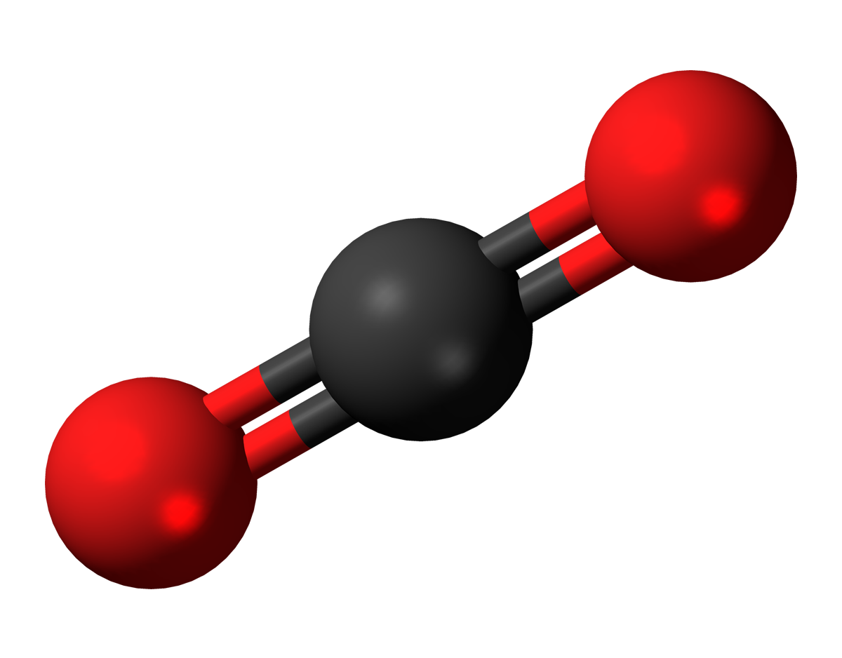 Représentation spatiale éclatée du dioxyde de carbone