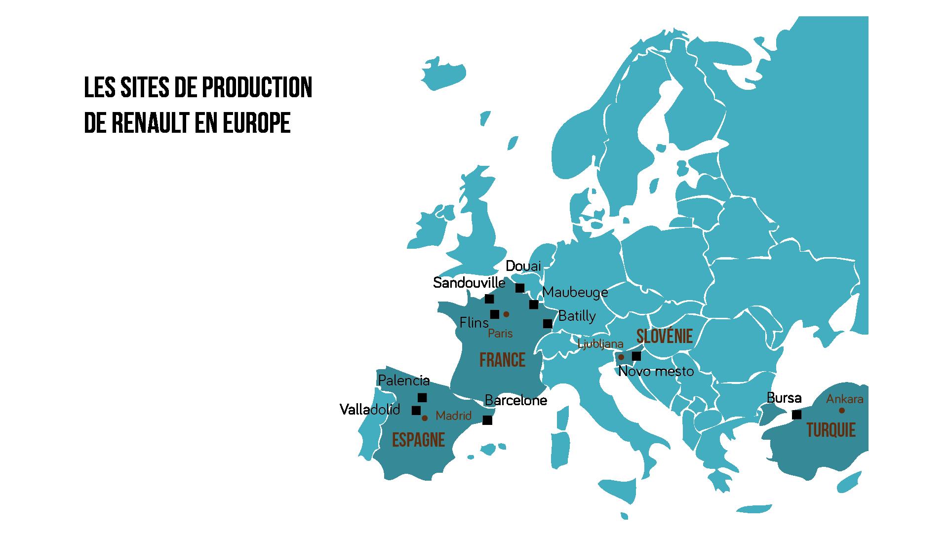 Carte des sites délocalisés du constructeur français Renault