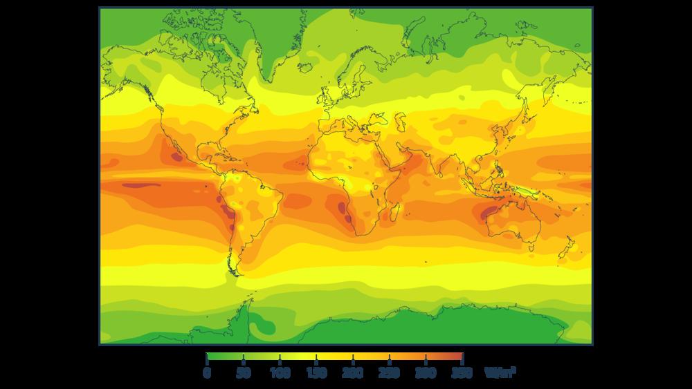 Quantité d'énergie solaire reçue à la surface de la Terre